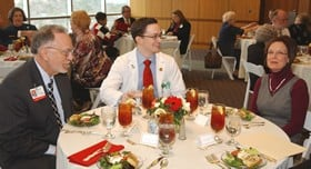 From left to right; Nicholas, Patrick and Helen Lang lunch in honor of the Helen F. Lang RN Scholarship Fund.
