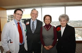 Nicholas and Helen Lang, center, pose with son Patrick, far left, and Helen's mother, Geniva Haley