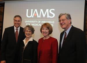 Dr. Daniel Rahn, Ginger Wilson, Lana Rahn and Dr. I. Dodd Wilson celebrate Dr. Rahn's selection to succeed Dr. Wilson as UAMS chancellor.