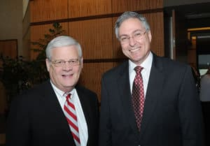 Dr. B. Alan Sugg, University of Arkansas System president, (left) recommended Dr. Daniel Rahn to the Board of Trustees.