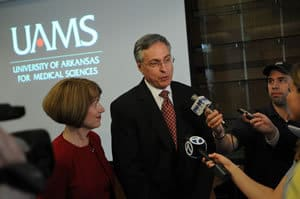 Dr. Daniel Rahn of Augusta, Ga., and his wife, Lana, are interviewed after the University of Arkansas Board of Trustees voted him the next UAMS chancellor.