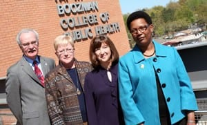 (Left to right) The College of Public Health's Jim Raczynski, Ph.D.; Martha Phillips, Ph.D.; Carol Cornell, Ph.D.; and Anna Huff.