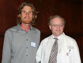 The Castleman's Disease research lab of Frits van Rhee, M.D., Ph.D., (right)recently was named for his patient, Greg Pacheco, who was instrumental in raising funds for the lab's equipment.
