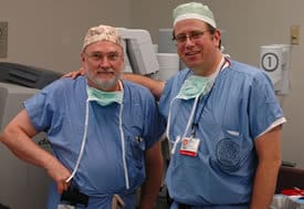 UAMS' Brendan Stack, M.D., (left) and Gareth Tobler, M.D., teamed up recently to perform the first two robotic parathyroid surgeries in Arkansas.