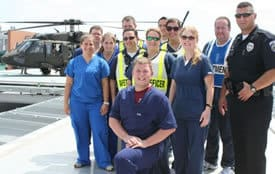 UAMS emergency staff pose for a photo after completing the Aug. 2 exercise.