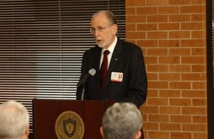 CHRP Dean Ronald Winters speaks during an open house ceremony for the college's new home.