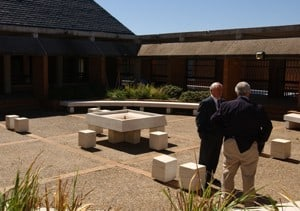 A view of one courtyard in the new College of Health Related Professions home.