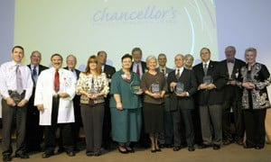 The UAMS Chancellor's Faculty Teaching Award recipients pose with then-Chancellor I. Dodd Wilson (center) after the Oct. 27 ceremony.