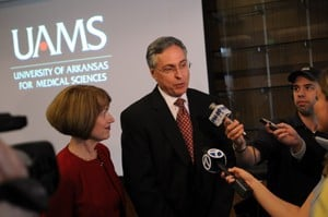 New UAMS chancellor Dan Rahn, M.D., and his wife, Lana, are interviewed in March after the University of Arkansas Board of Trustees selected him as the fourth UAMS chancellor.