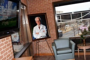 A painting of John P. Shock on display in the new welcome center that bears his name.