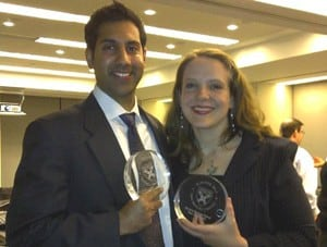 UAMS' Cassandra Quave (right) and Sahil Patel represented PhytoTEK, a UAMS BioVentures startup, at the Harvard competition.