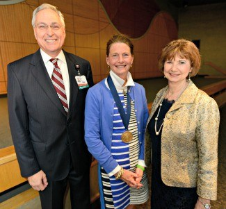 UAMS Chancellor Dan Rahn, M.D., Barone and Jean McSweeney, Ph.D., R.N., interim dean for the UAMS College of Nursing