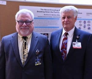Research leaders Steve Goodman, Ph.D., from UTHSC (left) and UAMS' Lawrence Cornett, Ph.D., established the symposium in hopes of generating collaborative research between the two institutions.