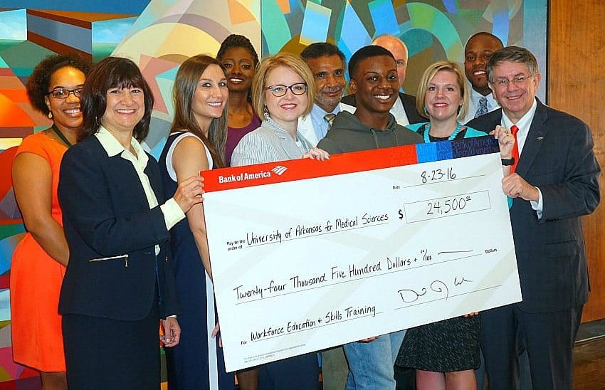 The Bank of America Foundation presented $24,500 to the UAMS Center for Diversity Affairs summer programs, which support workforce education and skills training.