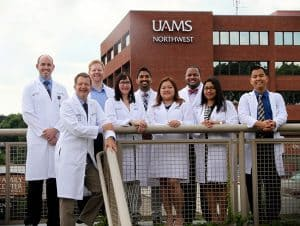 The first eight resident physicians and the program director for the Northwest Arkansas Community Internal Medicine Residency Program.
