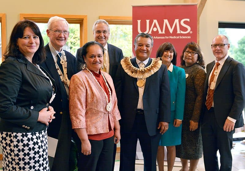 Sheldon Riklon, M.D., (center) was invested into the Peter O. Kohler, M.D., Endowed Distinguished Professorship in Health Disparities. He is shown with Pearl McElfish, Ph.D., Peter Kohler, M.D., Nia Aitaoto, Ph.D., Chancellor Dan Rahn, M.D., Provost Stephanie Gardner, Pharm.D., Ed.D., Lynda Riklon and Pope Moseley, M.D.