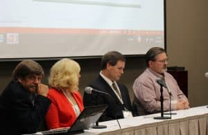 Afternoon panelists at the summit included Phil Triolo, Ph.D., a Salt Lake City, Utah-based regulatory consultant; Amy Jo Jenkins, UAMS Translational Research Institute program manager; Mark Rogers with Safe Foods Corp., J.D.; and Larry Parker, UAMS research compliance officer.