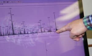 Scientist pointing to mass spec graphic
