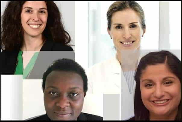 Top (l-r), Lisa Brents and Carolina Schinke; bottom, Rosemary Nabaweesi and Sufna John