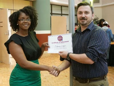 Johnasha Stuart, a senior graduate student, won first place in the oral presentation category.