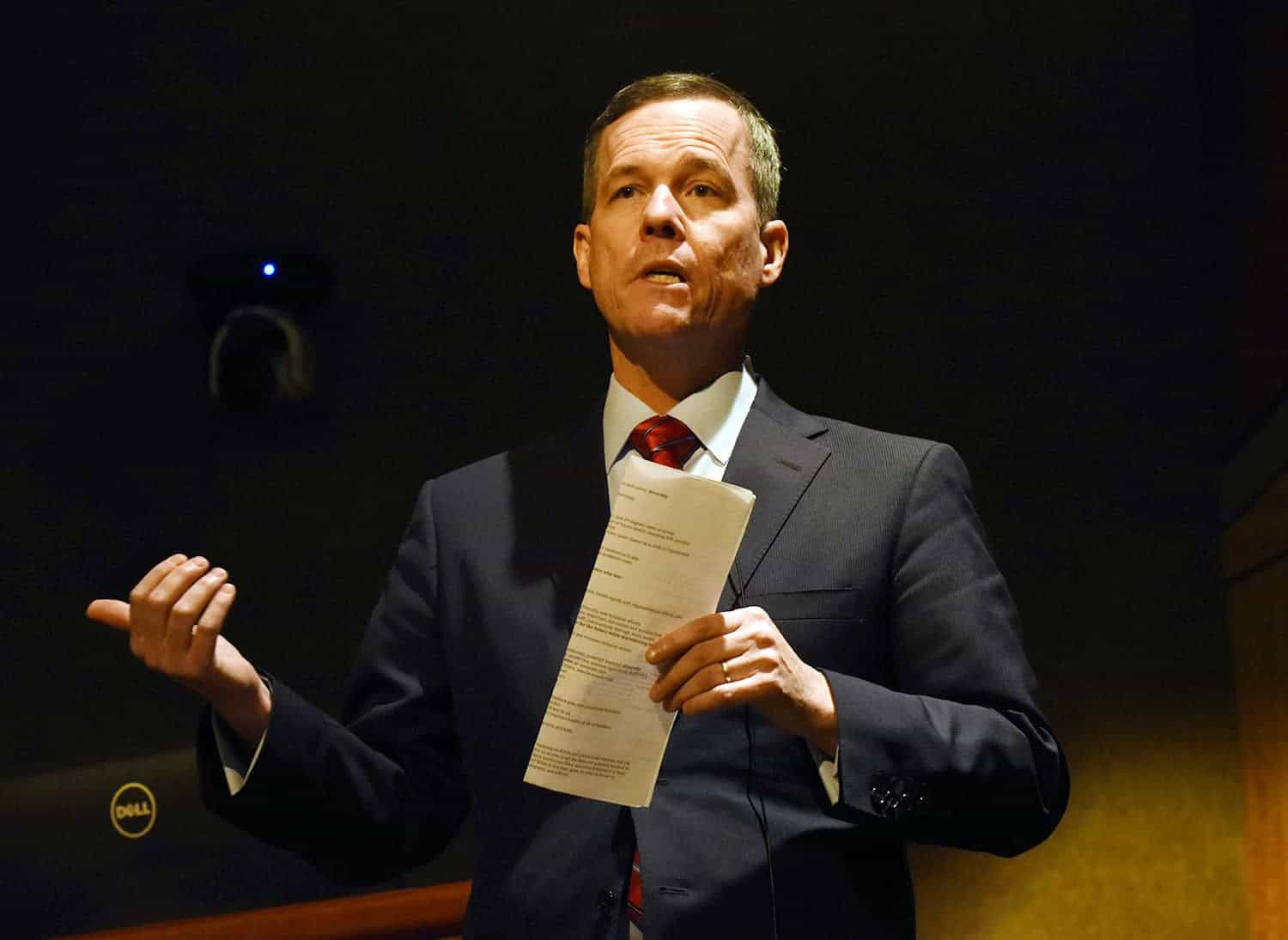 Cam Patterson, M.D., MBA, speaks at an open forum on the UAMS campus Dec. 13. University of Arkansas System President Donald R. Bobbitt will recommend Patterson as the next UAMS chancellor.