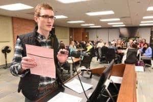Student at podium
