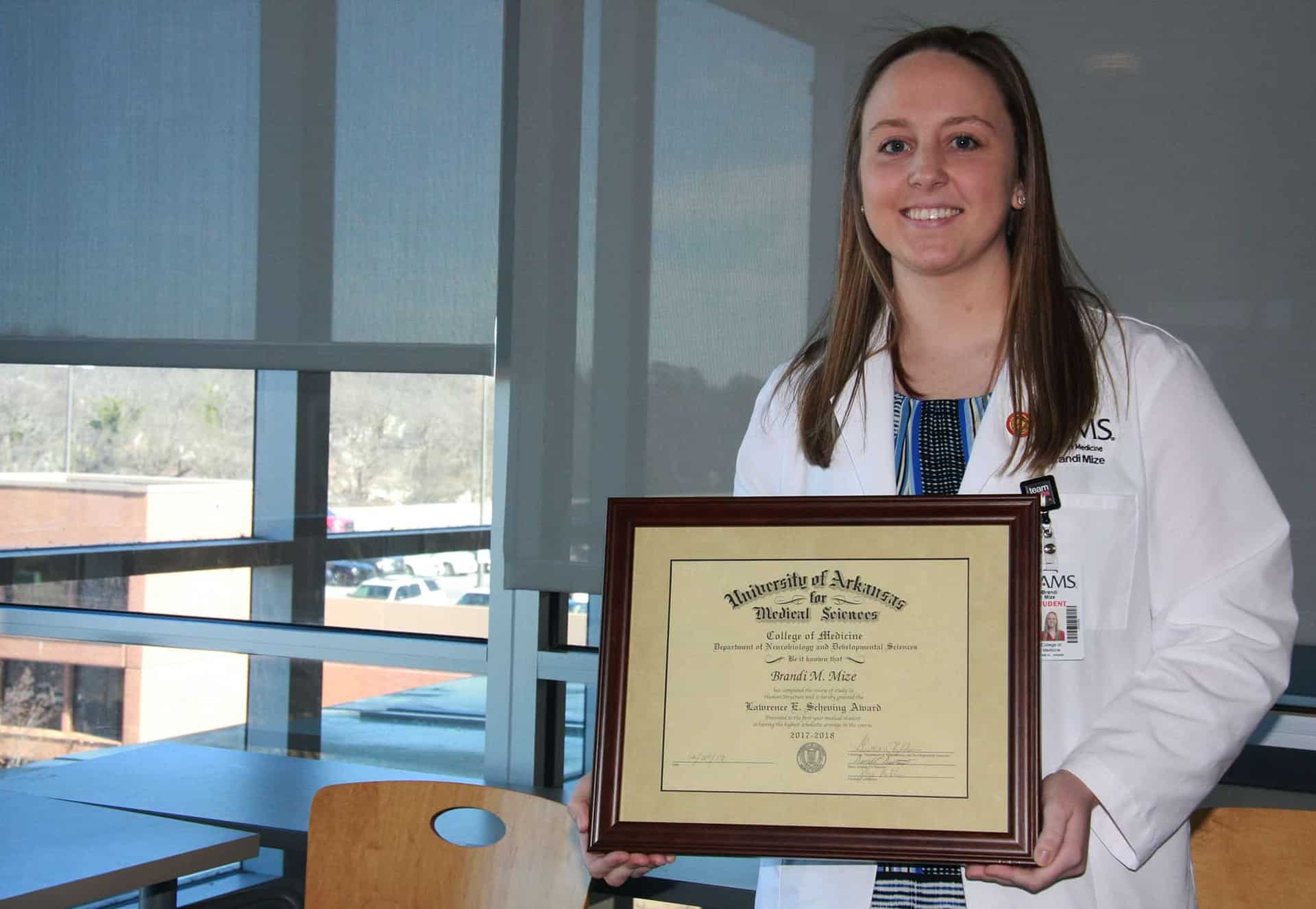 Brandi Mize is the 15th recipient of the Lawrence E. Scheving Award, established in 2004 to recognize the first-year medical student with the highest grade in Human Structure.
