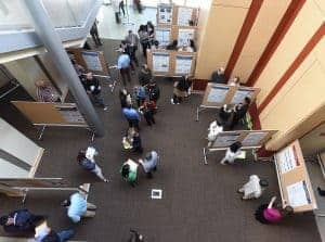 Poster session floor pictured from above
