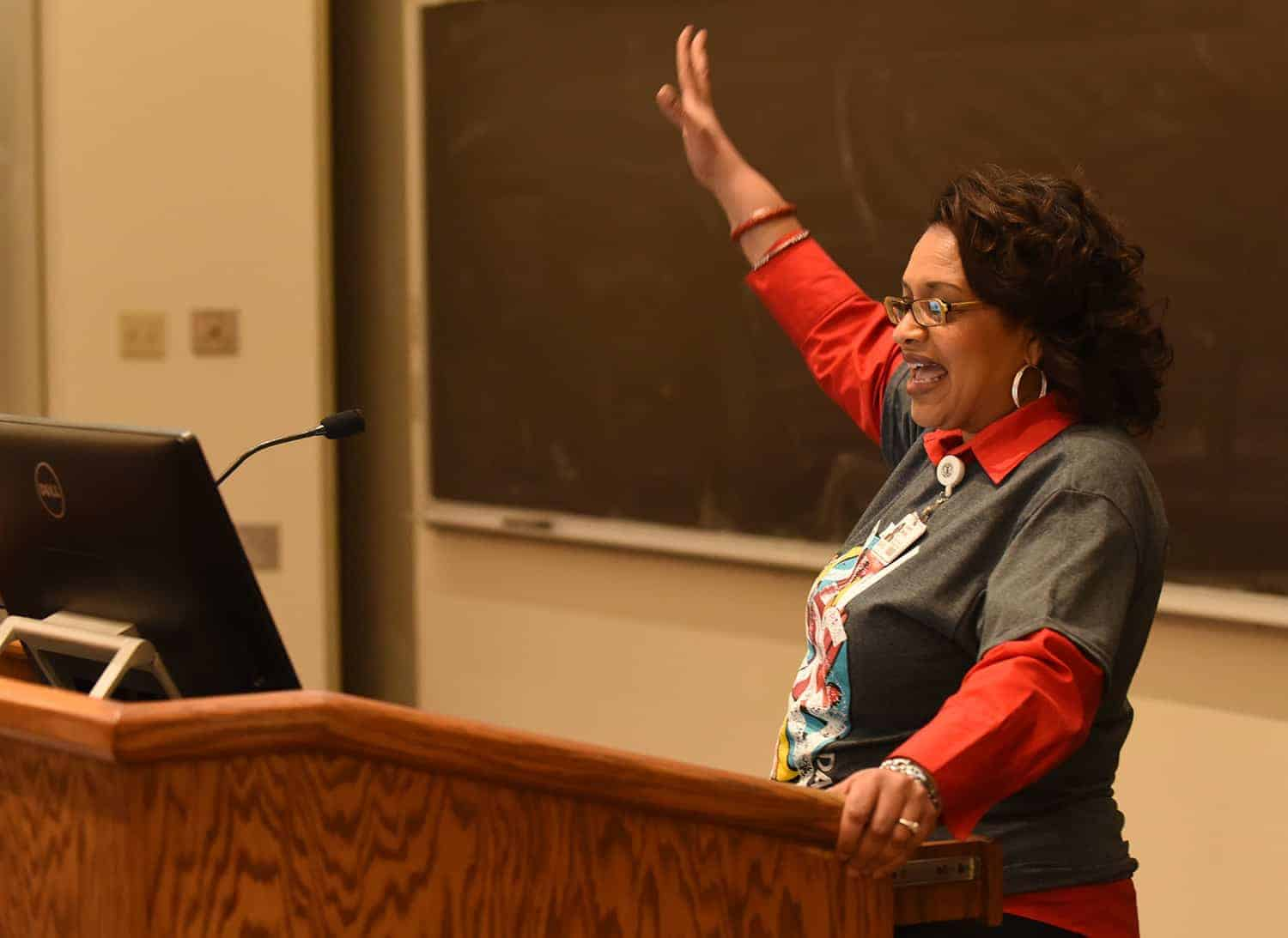 Debrah Mitchell, recruiting specialist for the UAMS College of Health Professions, speaks to students at UAMS Diversity Day on March 9.