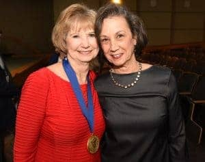 McSweeney shares a moment with long-time friend and former colleague Cornelia Beck, Ph.D., R.N., a retired UAMS College of Medicine and Nursing faculty member and renowned researcher.
