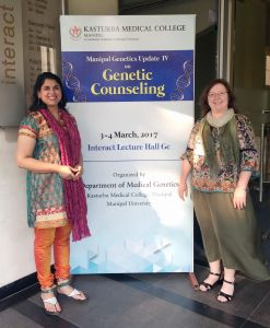 Smita Rao, M.S., and Lori Williamson Dean, M.S., assistant director of the Genetics Counseling program, presented at India's first conference focused on genetic counseling.