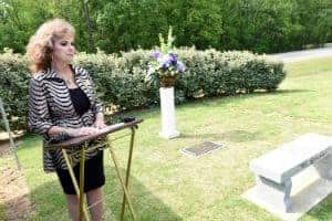 Ranata Jenkins Byler, owner of Roller Funeral Homes, who helped fund the Love Lives Memorial, spoke at the dedication.