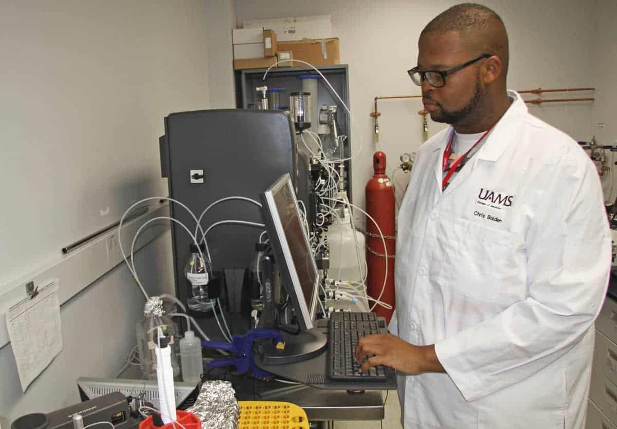Bolden working in lab