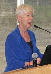 Gillespie at microphone
