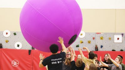 Students in the Magazine School District play during HealthyNow field Day.