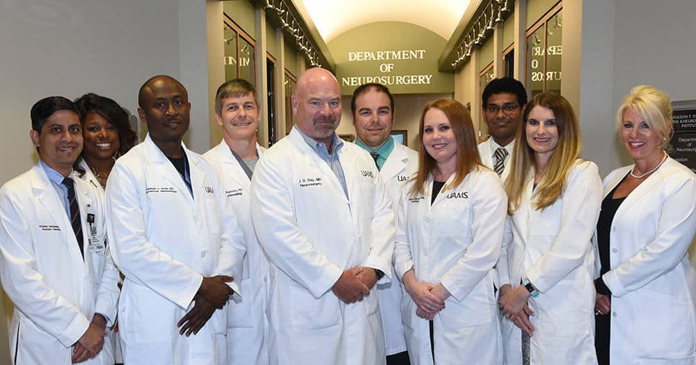 Seen here outside the UAMS Department of Neurosurgery, the UAMS Medical Center stroke team along with other UAMS physicians and staff recently achieved Comprehensive Stroke Center desgination for the medical center.