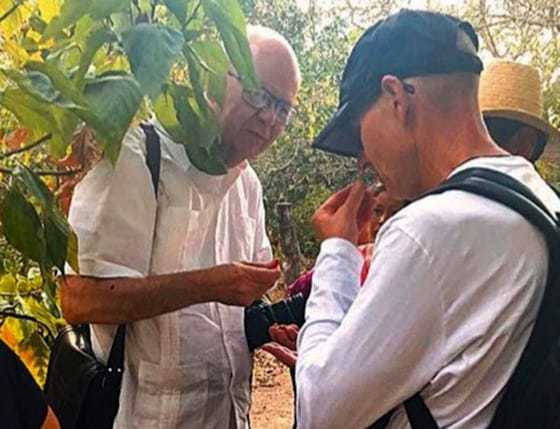 Cesar Compadre, left, and Dean Keith Olsen examine and discuss a medicinal plant growing in the Bolivian countryside.