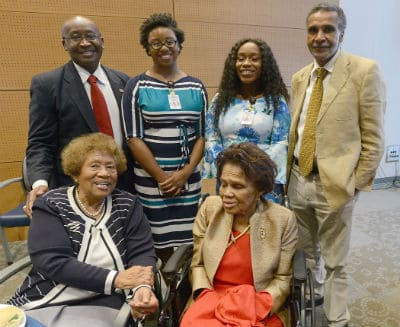 M. Joycelyn Elders, M.D. (seated, at left) credits Jones (seated, at right) as her inspiration. Behind them are (from left) Elder Granger, M.D., Brittany Demmings, Tia'Asia James, and Billy Thomas, M.D., M.P.H.