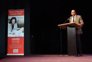 Edward Williams, M.P.A.S., P.A.-C, chair of the Department of Physician Assistant Studies, praised the PA Class of 2018 for their dedication during the Aug. 24 Valediction Ceremony.