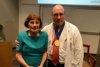 Eleanor Lipsmeyer, M.D., for whom the professorship is named, has a distinguished career as a physician and beloved faculty member and teacher.