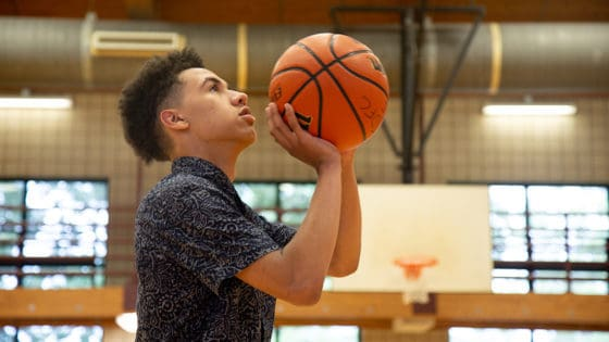 Dra Bishop, 16, prepares to shoot a free throw. Bishop had a stroke in late May, but after treatment from UAMS physician Martin Radvany, M.D., he is almost fully recovered.