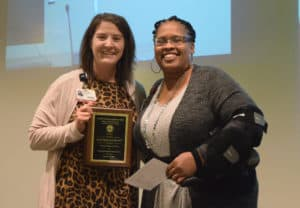 Cherika Robertson, M.Ed., (left) assistant professor in the Department of Laboratory Sciences, was awarded the Excellence in Service Award from Phyllis Fields, M.Ed., associate dean for student affairs.