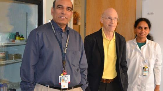Srinivas Ayyadevara, left, Robert Shmookler Reis and research associate Ramani Alla stop for a photo in their UAMS Donald W. Reynolds Institute lab.
