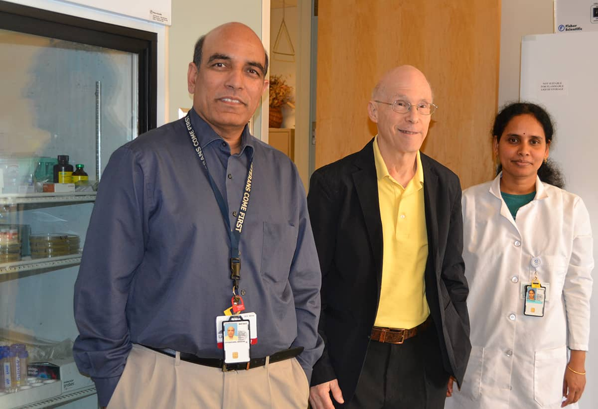Srinivas Ayyadevara, left, Robert Shmookler Reis and research associate Ramani Alla stop for a photo in their UAMS Donald W. Reynolds Institute lab.
