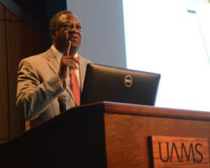 Col. Nathaniel Todd (ret.) speaks to UAMS veterans during the annual Veterans Appreciation Celebration.