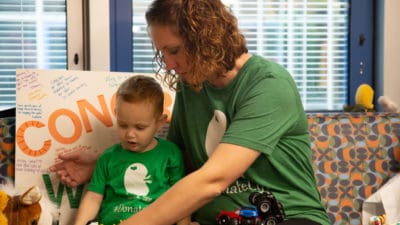 Jessica Stacy and her son Wesley play together days after their kidney surgeries.