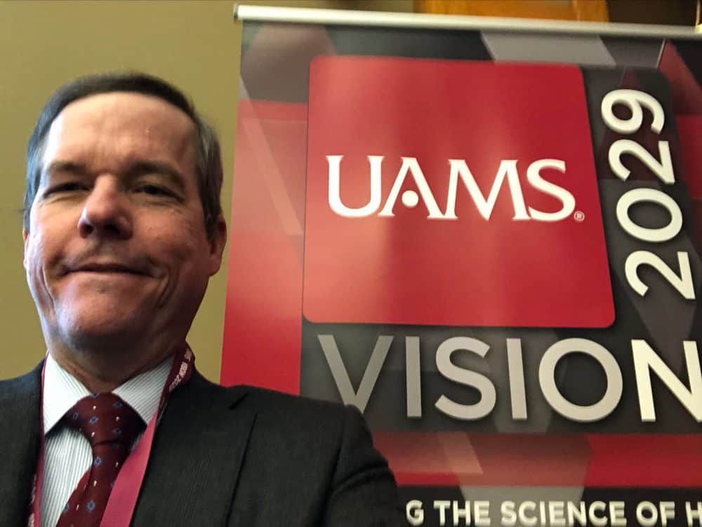 Chancellor Cam Patterson, M.D., MBA, snaps a selfie at the Vision 2029 retreat, which gathered representatives from UAMS clinical, education and research missions, along with two UAMS students and a group of external stakeholders.