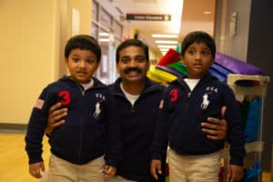Swaroop Salidi hopes his sons will continue the tradition of bringing gifts to the NICU when they grow up.