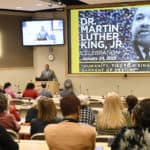 Faculty, students and staff listen to keynote speaker Tracy Steele during the 2019 Dr. Martin Luther King Jr. Celebration.