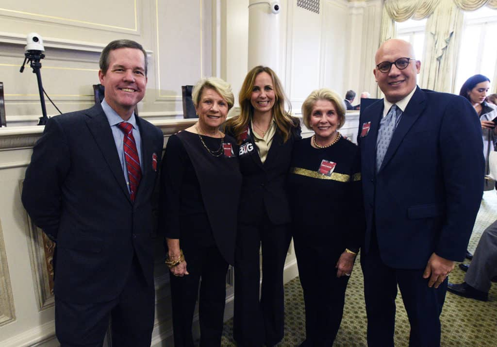 At the state Capitol to support UAMS' efforts to achieve National Cancer Institute Designation were (from left) Chancellor Cam Patterson; Stuart Cobb; Sen. Missy Irvin; Barbara Hoover; and Hatim Smouni.